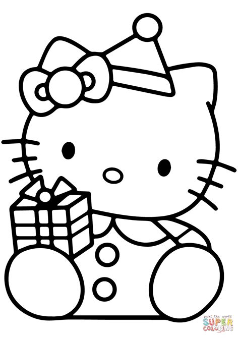 hello kitty with christmas gift box coloring page free