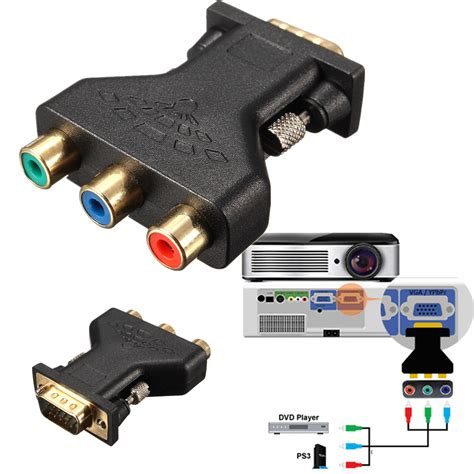 Kabel Vga To Rca By Puserba 3 rca rgb to hd15 pin vga styple component