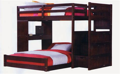 twin over full bunk bed with stairs and desk in dark