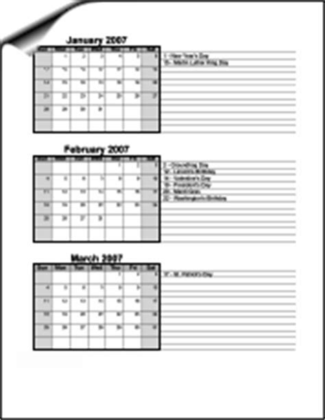 calendar template 3 months per page room for notes access members three months with room