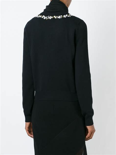 Neck Embroidered Sweater lyst givenchy embroidered floral neckline sweater in black