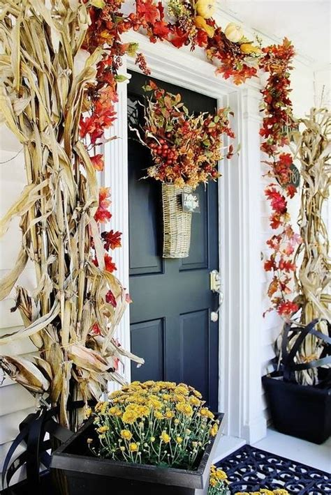fall entrance decorating ideas beautiful fall decorations made with dried corn and corn
