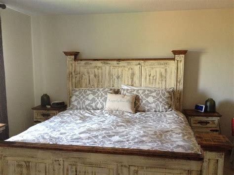 White Washed Rustic Bedroom Furniture by Mexican Pine White Wash Antiqued Headboard Bed