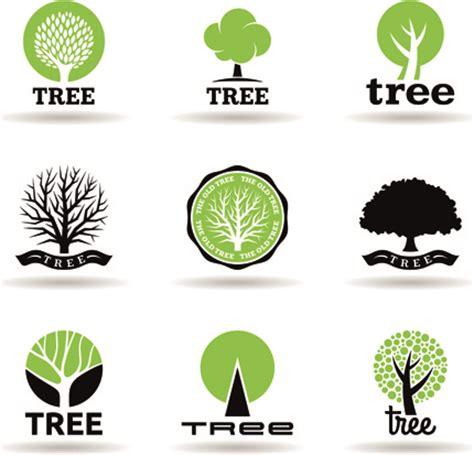 tree logo vector free vector trees logos creative design set free vector in