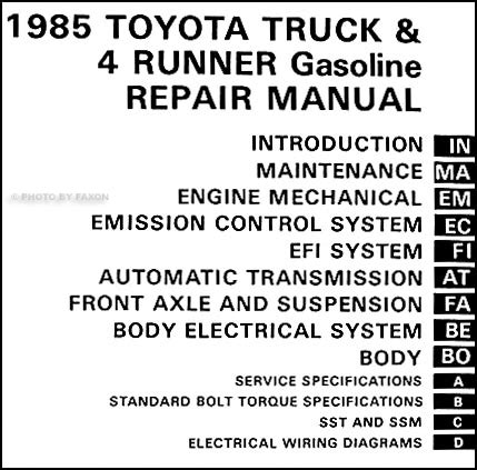 1985 toyota pickup truck 4runner auto transmission repair shop manual supplement