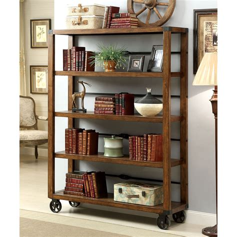 furniture of america cornell industrial 5 tier bookshelf
