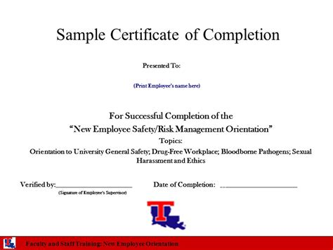 certificate of successful completion template safety and risk management orientation for new employees