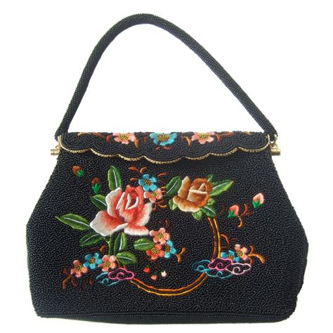exquiste black glass beaded embroidered evening bag c 1960