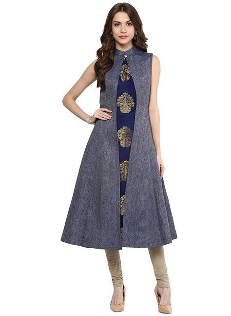 front slit a line kurti salwar kameez marking cutting buy blue color denim a line front slit women s long kurti
