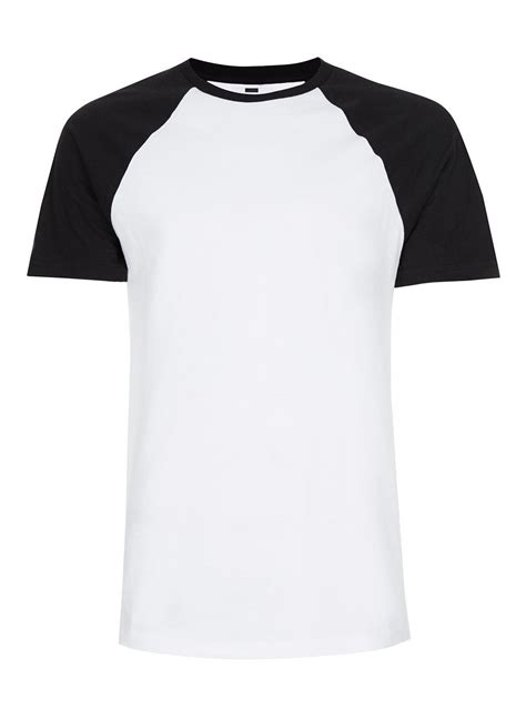 Kaos Raglan White Black black and white raglan sleeve t shirt topman