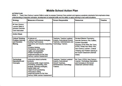 school action plan template 11 free sle exle