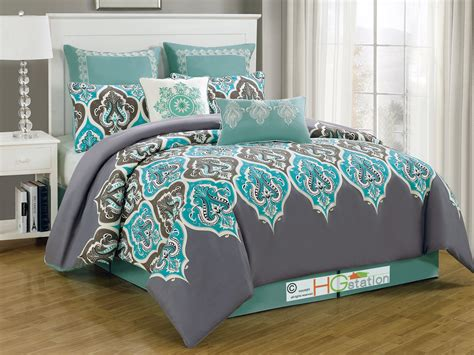 turquoise brown comforter sets 8p damask french lily fleur de lis comforter set silver