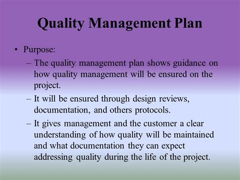 design quality management plan software quality management plan ppt video online download