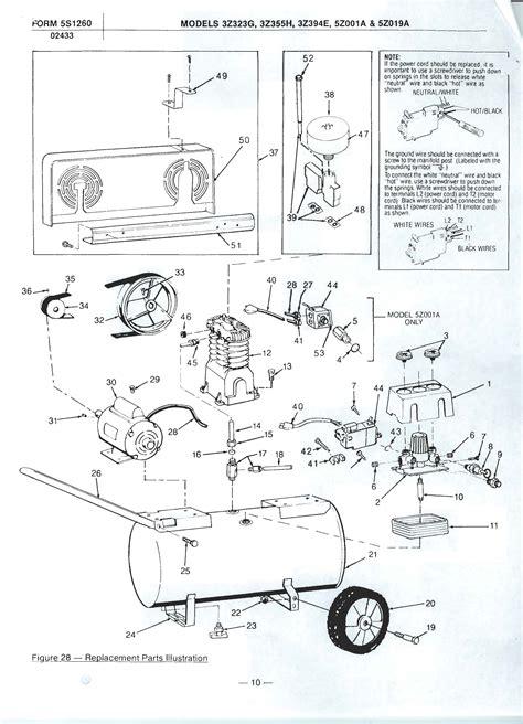 5z001a speedaire air compressor parts