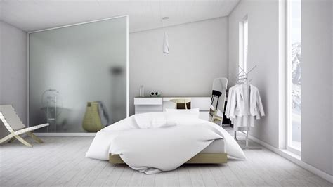 scandinavian bedroom design dominant with white color