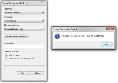 format flash disk unknown capacity windows could not format a partition on disk 0 error code