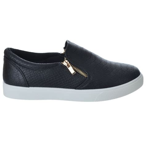 zips sneakers womens slip on flat skater gold zip trainers