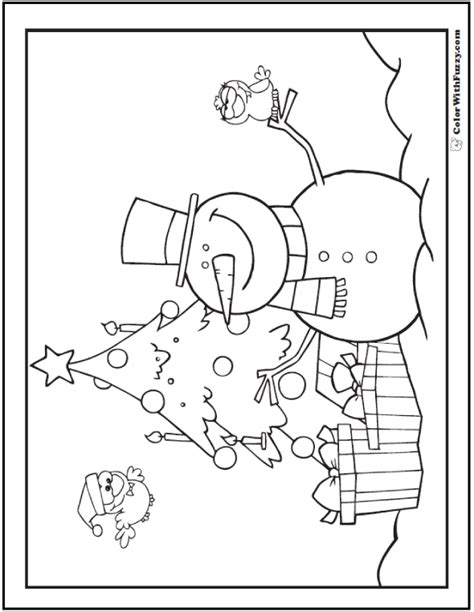 christmas tree and snowman coloring pages snowman christmas tree gifts coloring picture