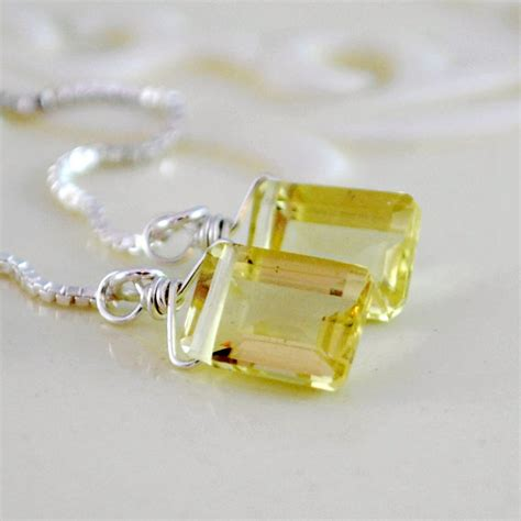 lemon quartz earrings pale yellow gemstone emerald by