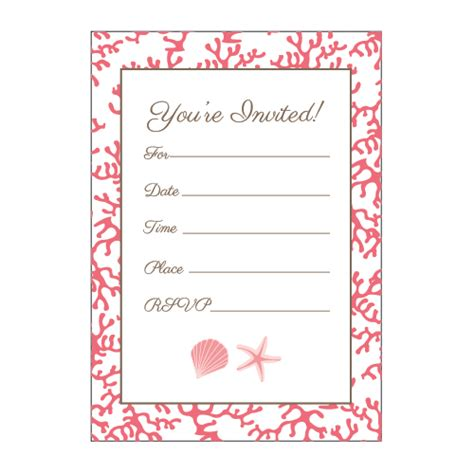 Coral and Shell Fill in the Blank Invitations