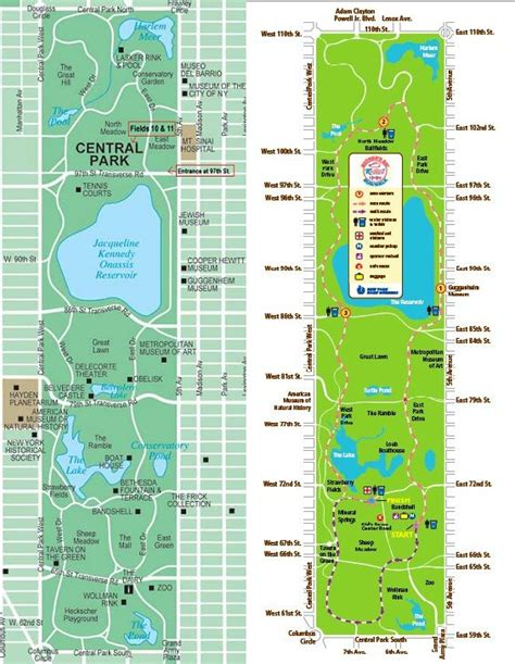 printable map of central central park new york map