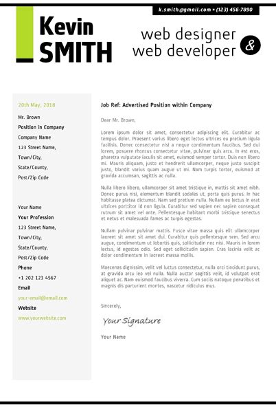cover letter design template web designer resume template cover letter portfolio