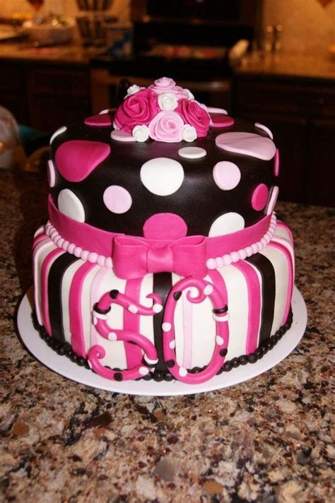 black and pink birthday cake this is a pink black and white birthday cake for a