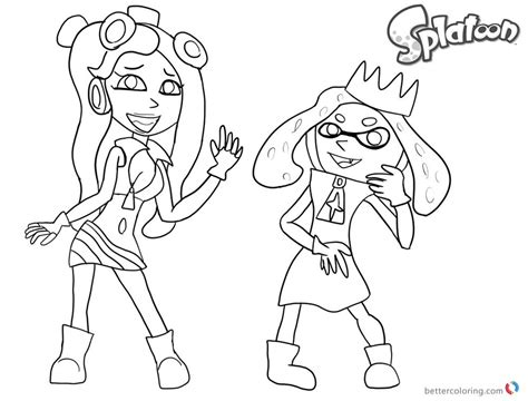 Splatoon 2 Coloring Pages by Splatoon Coloring Pages Splatoon 2 Pearl And Marina Sketch