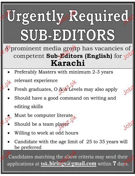 layout sub editor jobs sub editors job opportunity 2018 jobs pakistan
