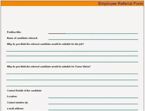 referral form template employee referral form sle