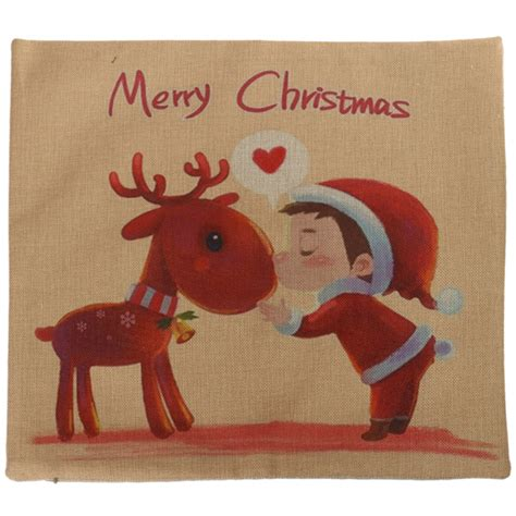 christmas gift for workmates vintage series deer throw pillow linen cotton square sofa cushion cover at banggood