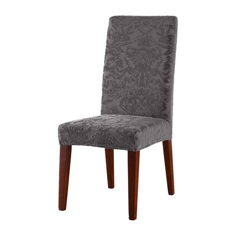 Dining Room Chair Slipcovers Short stretch jacquard damask short dining room chair cover