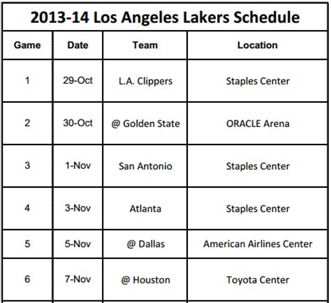 printable los angeles lakers schedule for 2013 14