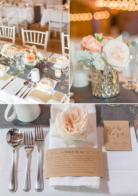 grey white and peach table decor @weddingchicks   Table