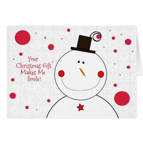 thank you for the christmas gift smiling snowman card zazzle