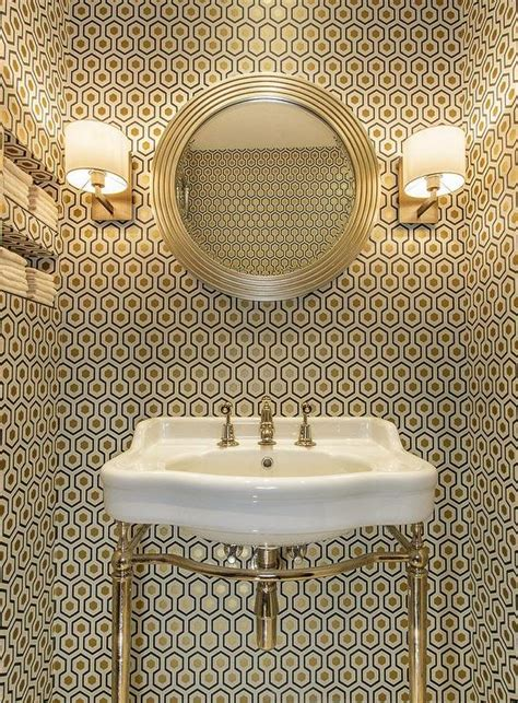 wallpaper powder room contemporary powder room with hicks hexagon wallpaper