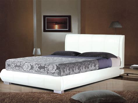double cing bed white faux leather bed in double or king homegenies