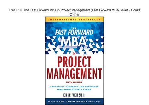 Fast Forward Mba by Free Pdf The Fast Forward Mba In Project Management Fast