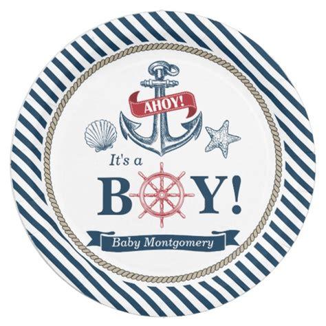 Ahoy It S A Boy Nautical Ahoy It S A Boy Baby Shower Paper Plates Zazzle