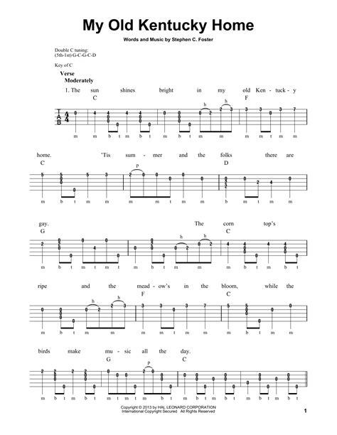 printable lyrics to my old kentucky home my old kentucky home sheet music direct