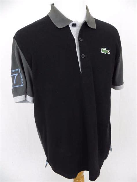 lacoste polo shirt 7 black golf big jumbo embroidered
