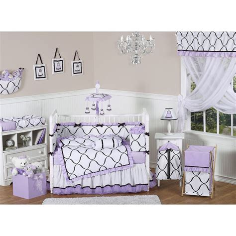 princess crib bedding set sweet jojo designs princess black white purple 9 piece