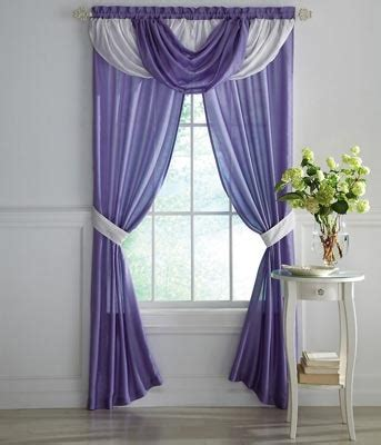purple valance curtains purple white sheer curtains w draped valance college