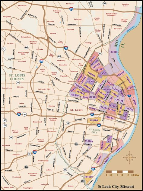 zip code map st louis custom zip codes census maps digital vector wall