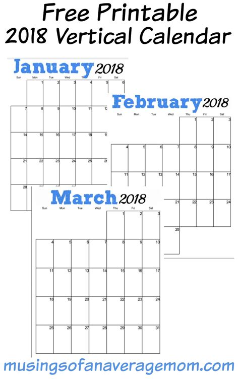 2018 yearly blank calendar template free printable templates