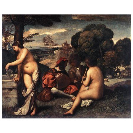 Pastoral Concert Fete Champetre by Giorgione Painting, 61cm x 45.7cm   Rakuten.com