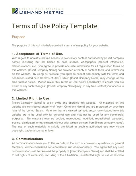 terms of use template terms of use policy template