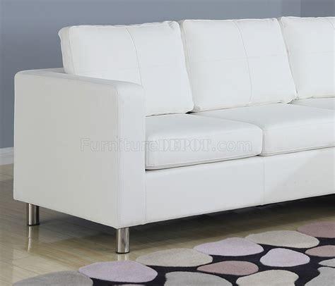 white vinyl sofa 15068 kemen sectional in white vinyl sofa by acme