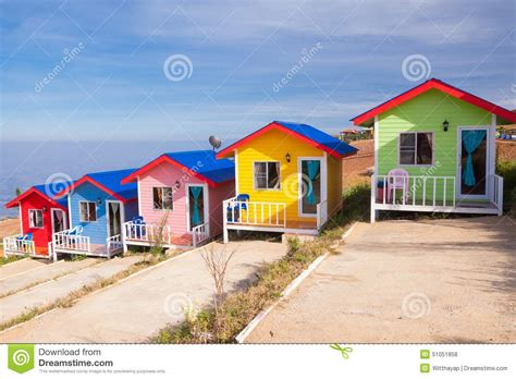 Colorful Cabins by Colorful Cabins On The Mountain Stock Photo Image 51051858