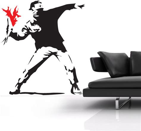 banksy wall stickers banksy hooligan wall sticker by the vinyl biz wall stickers